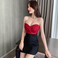 Dress Summer 2021 S,M,L,XL Short skirt singleton  Sleeveless commute One word collar High waist zipper Pencil skirt Breast wrapping 18-24 years old Type X Korean version 31% (inclusive) - 50% (inclusive)