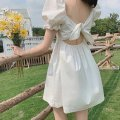 Dress Summer 2021 white S,M,L,XL Short skirt singleton  Short sleeve Sweet square neck High waist Solid color A-line skirt puff sleeve 18-24 years old Type A backless princess