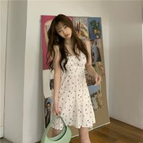 Dress Summer 2021 white S M Short skirt singleton  Sleeveless commute One word collar High waist Broken flowers Socket A-line skirt routine camisole 18-24 years old Type A Gooseby Korean version printing 81% (inclusive) - 90% (inclusive) Chiffon polyester fiber Polyester 87.9% other 12.1%