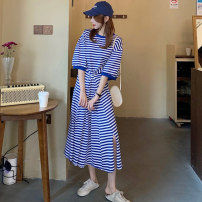 Dress Spring 2021 Blue and white bar black and white bar Average size longuette singleton  Short sleeve commute Crew neck High waist stripe Socket A-line skirt routine 18-24 years old Gooseby court Splicing 81% (inclusive) - 90% (inclusive) cotton Cotton 89.7% others 10.3%