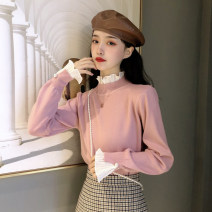 Wool knitwear Winter 2020 Average size Long sleeves singleton  Socket cotton 71% (inclusive) - 80% (inclusive) have cash less than that is registered in the accounts routine commute Self cultivation High collar pagoda sleeve Solid color Socket Korean version 18-24 years old Gooseby Splicing