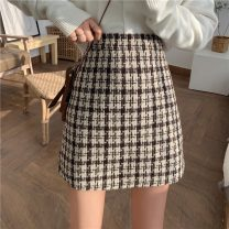 skirt Autumn 2020 S M L Black check Brown check Short skirt commute High waist A-line skirt lattice Type A 18-24 years old 305H_ E4Hlf 71% (inclusive) - 80% (inclusive) Wool Gooseby cotton zipper Korean version Cotton 76.3% others 23.7% Pure e-commerce (online only)