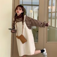 Dress Winter 2020 Grey suspender skirt apricot suspender skirt coffee sweater blue sweater Average size longuette singleton  Long sleeves commute Crew neck Loose waist Solid color Socket other other straps 18-24 years old Type H Gooseby Korean version straps 7137#_ ZYWGU other cotton