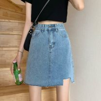 skirt Spring 2021 S M L XL blue Short skirt commute High waist A-line skirt Solid color Type A 18-24 years old W0118_ ncYS9 81% (inclusive) - 90% (inclusive) Denim Gooseby cotton pocket Korean version Cotton 89.7% others 10.3% Pure e-commerce (online only)