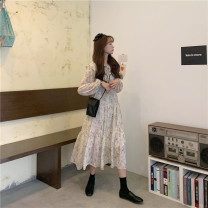 Dress Spring 2021 White black Average size Mid length dress singleton  Long sleeves commute Doll Collar High waist Broken flowers Socket A-line skirt routine 18-24 years old Type A Gooseby Korean version Lotus leaf edge 1.16j_ kpdpu 81% (inclusive) - 90% (inclusive) Chiffon polyester fiber