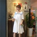 Dress Spring 2021 White yellow purple green blue black pink S M L XL longuette singleton  Short sleeve commute Admiral Loose waist Solid color Socket A-line skirt routine 18-24 years old Type A Gooseby Korean version Button 81% (inclusive) - 90% (inclusive) polyester fiber