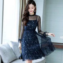 Dress Spring of 2018 Blue black S M L XL Mid length dress Two piece set Long sleeves commute Crew neck High waist Decor zipper other routine Others 25-29 years old Nicanila Korean version Lace More than 95% polyester fiber Polyester 100% Pure e-commerce (online only)