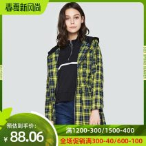 Windbreaker Winter of 2018 34XS 36S 38M 40L 42XL yellow Long sleeves routine Medium length commute zipper Hood routine lattice Straight cylinder Korean version Etam / egger 18-24 years old pocket 51% (inclusive) - 70% (inclusive) polyester fiber Pure e-commerce (online only)