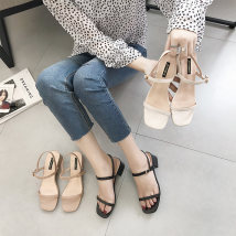 Sandals 35 36 37 38 39 Black apricot Beige Daphne PU Barefoot Thick heel Middle heel (3-5cm) Summer of 2018 Flat buckle Korean version Solid color Adhesive shoes Youth (18-40 years old) rubber daily Back space Buckles and Roman style Low Gang Hollow