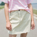 skirt Summer of 2018 Average size Beige Short skirt commute High waist A-line skirt Solid color Type A 18-24 years old 91% (inclusive) - 95% (inclusive) Echo'shine cotton literature