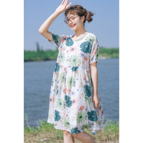 Dress Summer 2020 Picture color (in stock), picture color (5-10 days delivery), picture color (15-30 days delivery) Average size Mid length dress singleton  Short sleeve Sweet Crew neck High waist Decor Socket Princess Dress routine Others 18-24 years old Type A echo shine Big flower dress other hemp