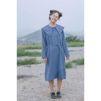 Dress Autumn of 2019 Beige (spot), blue (spot), beige (10-15 days delivery), blue (10-15 days delivery), beige (15-30 days delivery), blue (15-30 days delivery) Average size longuette singleton  Long sleeves commute other High waist Solid color Socket other routine Others 18-24 years old Type H other