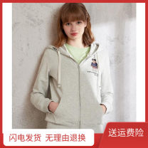 Sweater / sweater Autumn 2020 The zipper is blue in H2 and gray in H2 M,L,XL Long sleeves routine Cardigan singleton  routine Hood Straight cylinder Sweet routine Solid color 81% (inclusive) - 90% (inclusive) cotton 205101I hemp Cotton liner zipper college