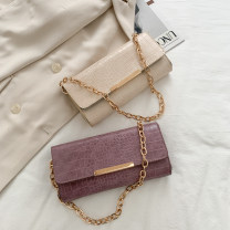 Bag The single shoulder bag PU Small square bag Meimeier brand new Japan and South Korea Small leisure time soft Cover type no Solid color Single root One shoulder hand nothing youth Horizontal square Crocodile pattern Chain handle synthetic leather soft surface