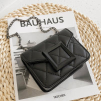 Bag The single shoulder bag PU Small square bag Meimeier Black, white, red, green brand new Japan and South Korea Small leisure time soft Cover type no Solid color Single root One shoulder cross nothing youth Horizontal square Rhombic grid Chain handle polyester fiber soft surface