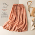skirt Spring 2021 M L XL 2XL longuette commute High waist A-line skirt Solid color Type A 25-29 years old More than 95% He Yongzi hemp fold literature Flax 100%