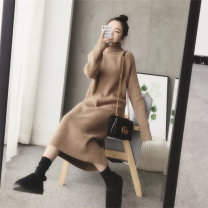 Women's large Autumn 2021 Camel, black grey, beige Large L, large XL, s, M sweater singleton  commute easy thickening Socket Long sleeves Solid color Retro High collar Medium length routine 25-29 years old longuette