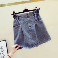 skirt Summer 2020 S,M,L,XL blue Short skirt Versatile High waist A-line skirt Solid color Type A 18-24 years old 51% (inclusive) - 70% (inclusive) other other pocket