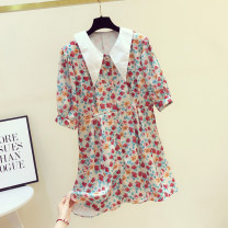 Dress Summer 2020 gules S,M,L,XL Middle-skirt singleton  Short sleeve commute Doll Collar High waist Decor Single breasted other routine Others 18-24 years old Type X Korean version 81% (inclusive) - 90% (inclusive) Chiffon other