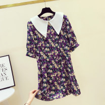 Dress Summer 2020 Broccoli S,M,L Mid length dress singleton  Short sleeve commute Doll Collar middle-waisted Decor zipper other bishop sleeve Others 18-24 years old Type X Korean version Pleats, stitching, zippers, prints 81% (inclusive) - 90% (inclusive) Chiffon other