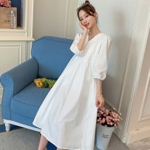 Dress Other / other White, white quality version [80% candidates] M,L,XL,XXL Korean version Short sleeve Medium length summer V-neck Solid color Pure cotton (95% and above)