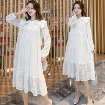 Dress Good pregnancy white M,L,XL,XXL Korean version Long sleeves routine autumn other Solid color Pure cotton (95% and above)