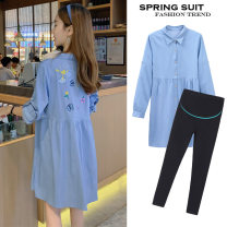 Shirt / Chiffon Long sleeves Other / other Blue jacket, blue suit, high quality version of blue jacket [80% candidates], high quality version of blue suit [80% candidates] M. L, XL, XXL, XXXL, increase XXXL Solid color Lapel Korean version spring and autumn Pure cotton (95% and above)