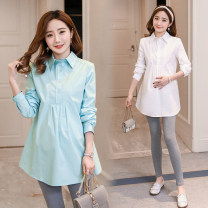 Shirt / Chiffon Long sleeves Other / other White, light blue, white high quality version [80% candidates], light blue high quality version [80% candidates] M,L,XL,XXL Solid color Lapel leisure time No season Pure cotton (95% and above)