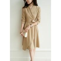 Dress Autumn 2020 Black, khaki, grey powder S,M,L Middle-skirt singleton  Long sleeves commute V-neck High waist Solid color Irregular skirt routine 25-29 years old Type H Jian Pu Simplicity DR-2244