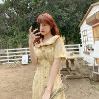 Dress Summer 2020 yellow S,M,L,XL Mid length dress singleton  Short sleeve commute Doll Collar High waist lattice Single breasted other routine Others Type X Retro Pleating, pleating, tridimensional decoration, buttons 91% (inclusive) - 95% (inclusive) polyester fiber