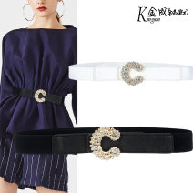 Belt / belt / chain Pu (artificial leather) Black, white female Waistband grace Single loop Youth, middle age Smooth button Diamond inlay soft surface 3cm alloy
