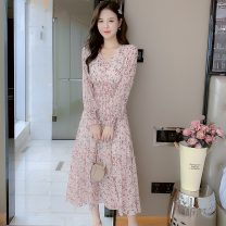Dress Spring 2021 Picture color S,M,L,XL Mid length dress singleton  Long sleeves commute V-neck High waist Decor other Big swing puff sleeve Others Type A Korean version Fungus, fold 8207#M 31% (inclusive) - 50% (inclusive)