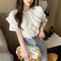 T-shirt White, black S,M,L,XL Summer 2021 Short sleeve Crew neck Self cultivation Regular routine commute other 51% (inclusive) - 70% (inclusive) Korean version youth Solid color 8077#T Lotus leaf edge