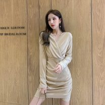 Dress Autumn 2020 Khaki, black S,M,L,XL Middle-skirt Fake two pieces Long sleeves commute V-neck High waist Solid color Socket Big swing routine Others Korean version Stitching, folding 6902-L