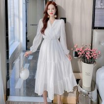 Dress Spring 2021 white S,M,L,XL Mid length dress singleton  Long sleeves commute V-neck High waist Solid color Socket A-line skirt routine Others Type A Korean version Splicing 9263#M