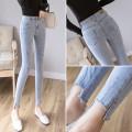 Jeans Spring 2021 S,M,L,XL Ninth pants High waist Pencil pants routine Make old Cotton elastic denim Dark color 81% (inclusive) - 90% (inclusive)