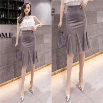 skirt Summer 2021 S,M,L,XL,2XL,3XL,4XL,5XL Gray, red, black Mid length dress commute High waist Ruffle Skirt Solid color Type A 1049-L 51% (inclusive) - 70% (inclusive) knitting other Flounce, mesh, asymmetry Korean version 401g / m ^ 2 (inclusive) - 500g / m ^ 2 (inclusive)