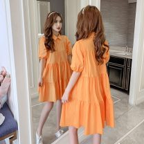 Dress Summer 2021 Orange, white, purple, green, black S,M,L,XL Middle-skirt singleton  Short sleeve commute Polo collar High waist Solid color Single breasted Princess Dress puff sleeve Others Korean version Button, 3D 8018#-L other other