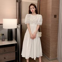 Dress Summer 2021 White, haze blue S,M,L,XL longuette singleton  Short sleeve commute Crew neck High waist Solid color Socket Big swing puff sleeve Others Type A Korean version backless
