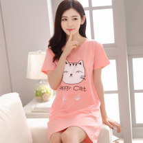 Nightdress Other / other 170 (XL), 175 (XXL), 160 (m), 165 (L), XXXL, 150-170 Jin Sweet Short sleeve Leisure home Middle-skirt summer Solid color youth Crew neck cotton Embroidery More than 95% Knitted cotton fabric