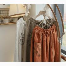 skirt Spring 2021 Average size Matte orange, hemp, khaki Mid length dress Natural waist Pleated skirt Type A