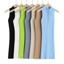 Dress Spring 2021 black , Camel color , blue , white , green , Apricot , Grey blue S, M Middle-skirt singleton  Sleeveless stand collar High waist Solid color zipper One pace skirt routine Others 25-29 years old Splicing 71% (inclusive) - 80% (inclusive) other nylon