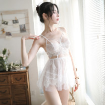 Nightdress Whispers under the moon White, black Average size camisole pajamas UltraShort  summer Solid color youth V-neck Polyester (polyester) Embroidery More than 95% Woven cotton fabric 220g