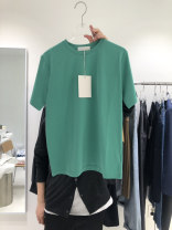 T-shirt Green, white, purple, blue, brown, yellowish green S,M,L,XL Summer 2021 Long sleeves Crew neck Straight cylinder Super short routine commute other 51% (inclusive) - 70% (inclusive) 25-29 years old Korean version Solid color