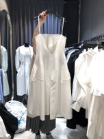 Dress Spring 2021 White, black S,M,L,XL longuette singleton  Sleeveless commute V-neck High waist Solid color Socket A-line skirt routine camisole 25-29 years old Type A Korean version pocket 51% (inclusive) - 70% (inclusive) cotton