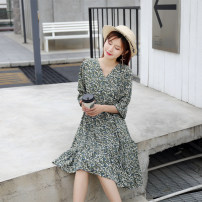 Dress Summer 2021 Black, green M,L,XL,2XL,3XL,4XL Mid length dress singleton  elbow sleeve Sweet V-neck High waist Broken flowers other Princess Dress other Others 18-24 years old Type A Other / other 71% (inclusive) - 80% (inclusive) Chiffon other