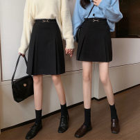 skirt Winter 2020 M,L,XL,2XL,3XL,4XL Black short, black long Mid length dress commute High waist Pleated skirt Solid color Type A Short 523 long 524 91% (inclusive) - 95% (inclusive) Wool Horseshoe buckle Korean version