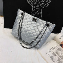 Bag The single shoulder bag PU diamond pattern chain bag Other / other White yellow Silver Black brand new European and American fashion large leisure time soft Buckle no Solid color Single root One shoulder hand nothing youth Horizontal square Sewing Chain handle soft surface