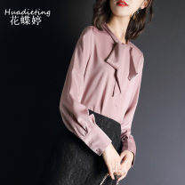 shirt Pink S M L XL XXL Summer of 2019 polyester fiber 96% and above Long sleeves commute Regular stand collar Single row multi button shirt sleeve Solid color 25-29 years old Straight cylinder Huadieting Korean version Bow and ruffle lace up button Polyester 100% Pure e-commerce (online only)