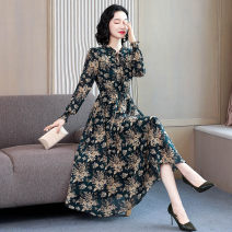Dress Autumn 2020 Green, red M,L,XL,2XL,3XL,4XL longuette singleton  Long sleeves commute Lotus leaf collar High waist Broken flowers Socket A-line skirt routine Others 40-49 years old Type A Merpesha Simplicity Lace, lace, lace, gauze A162 91% (inclusive) - 95% (inclusive) Chiffon polyester fiber